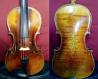 4/4 Beautiful Old Violin Exotic Purfling Full Size case + bow Professional Video