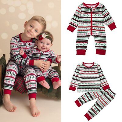 Christmas Newborn Toddler Kids Baby Boys Girls Romper Pants Homewear Outfits Set