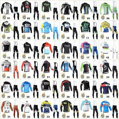 Thermal Fleece Bicycle Team Long sleeve cycling jersey&Bib pants Sets Fit Winter