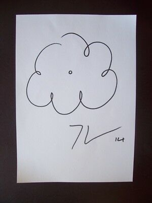 Jeff Koons Original Signed Ink Sketch Drawing Art On Canvas