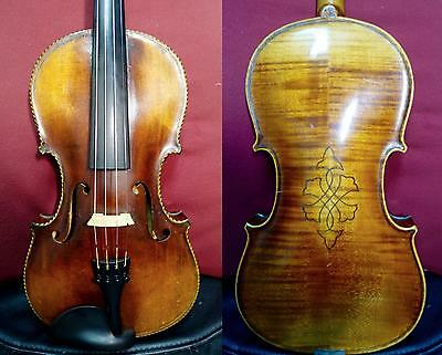 4/4 Beautiful Old Violin Exotic Purfling Full Size case + bow Amazing tone Video