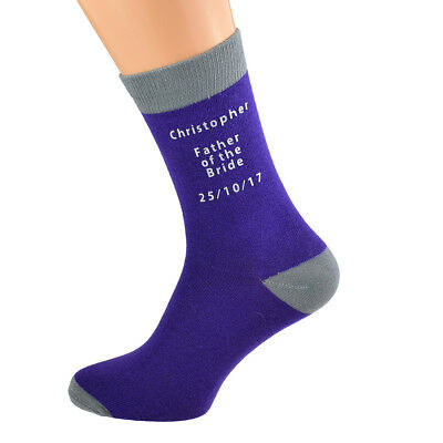 Mens Purple Personalised Socks (5-12 shoe)with grey contrast, YOUR TEXT  X6N690