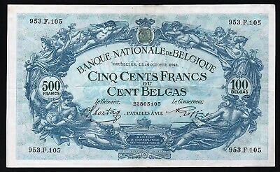 500 Francs - 100 Belgas From Belgium 1941  M8