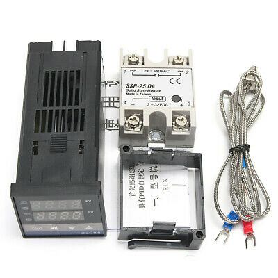 Digital REX-C100 Temperature Controller 0 to 400℃ + K Sensor + 25A SSR