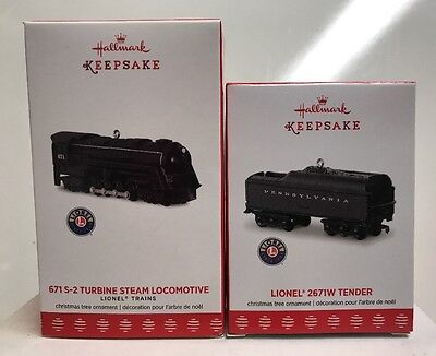 2017 Hallmark Keepsake Lionel 671 S2 Turbine Steam Locomotive & Tender Ornaments