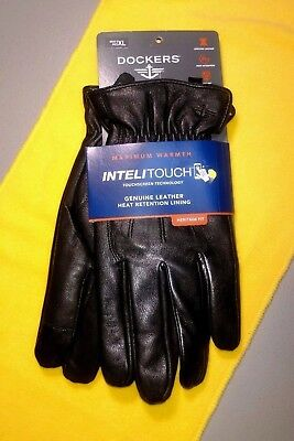 Dockers Men's XL Intelitouch Black Leather Gloves - Heat Retention Lining...NWT