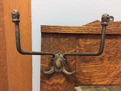 3 Antique Brass? Victorian / Mission Hall Tree Double Hook Hardware Coat Hooks !