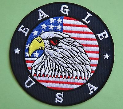Badge Iron-on embroidered Patch Eagle USA, USA flag, TOP GUN
