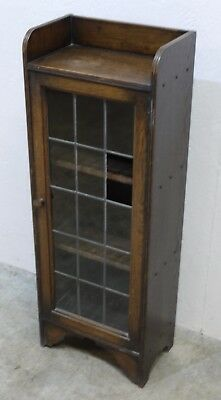 Early 20th Century Oak Closed Bookcase with Leaded Glass Panels (220)