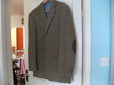 William Hunt Savile Row Checked Wool Blend country style tweed jacket size 44""