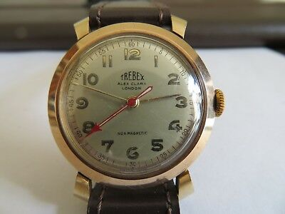 vintage wristwatch Trebex 9 ct gold, boxed