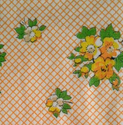 Antique American c1920-40s Printed Cotton Floral Fabric Orange Yellow Green