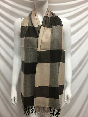 100% Cashmere Scarf Made In Scotland Checked Color Brown Beige Super Soft