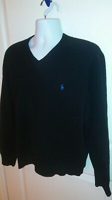 Polo Ralph Lauren Men's 100% Lambs Wool Black Pullover V-Neck Sweater L