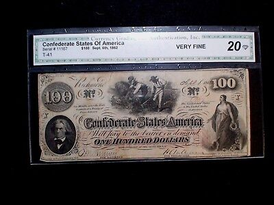1862 CONFEDERATE STATES OF AMERICA $100 Bill Auction Starts At 99 Cents!