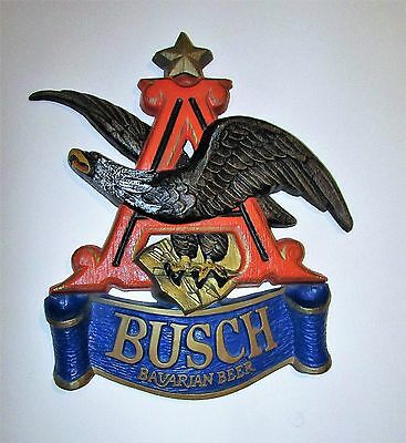 "Anheuser Busch Bavarian Beer Sign Flying Eagle Over Blue Banner 17""X18"" Vintage"