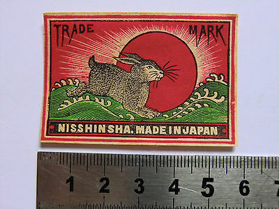 Ancienne étiquette allumette JAPON Rabbit  Matchbox Label JAPAN Matches