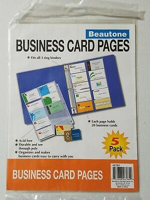 1- Pkgs Of Beauton Business Card Pages For 3 Ring Binder Total 5 Acidfree Pages
