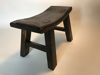 "Antique Primitive Wooden ""Swayback"" Milking/Foot Stool - Vintage Farm & Country"