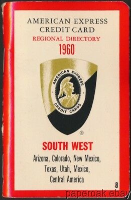 1960 American Express Credit Card Regional Directory For South West