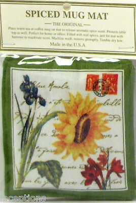 Alice's Cottage Cotton Scented Spiced Mug Mat Coaster Sunflower Garden - NEW
