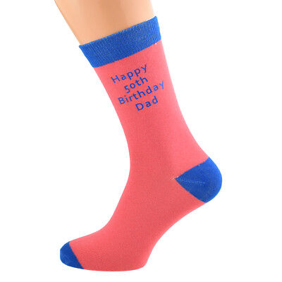 Mens Salmon Personalised Socks (5-12 shoe) with Blue contrast YOUR TEXT.  X6N690