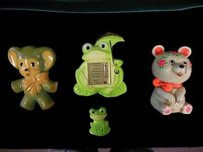 Lot of 4 Vintage Chalkware Decorations, Bank; Bears & Frogs