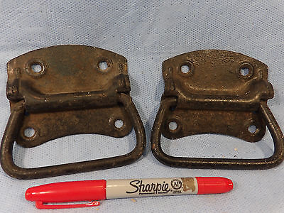 Set Of Two Old Metal Drop Handle Tool Box Chest Handles