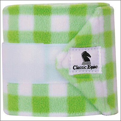 Lime Gingham Classic Equine Tack Horse Polo Leg Wraps Set Of Four