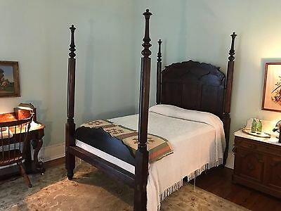 Flame Mahogany Four Poster Full Size Empire Plantation Bed, 19th Century