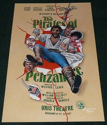 The Pirates Of Penzance 1981 Window Card Linda Ronstadt Kevin Kline Broadway