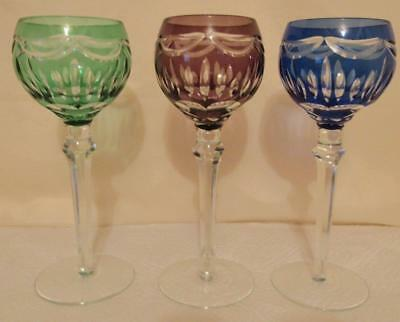 "(3) Cut Glass Stemware Glasses Bar Liquor Wine 8 1/4"" Tall Multi Colors Czech"
