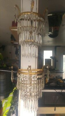 Pair of Antique French Style Crystal Teardrop Chandeliers