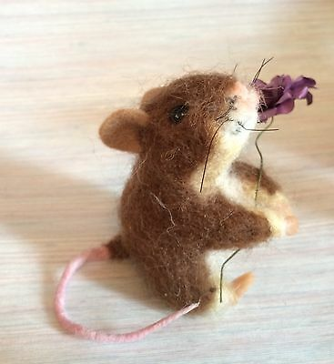 Needle Felted Mouse Brown Flower  Art Wool New