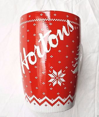 Tim Horton's Mug 2015 Christmas Red Sweater pattern Coffee Cup New Ltd Edition