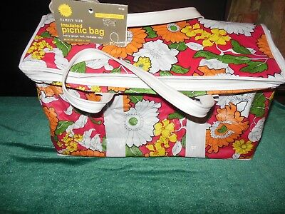 Vintage Mid-Century MOD Flowered, Pink, Green, White Vinyl Picnic Tote, NWT