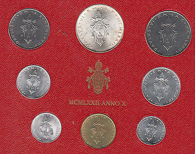 1972 Vatican POPE PAOLO VI silver mint set coins in official red cardboard
