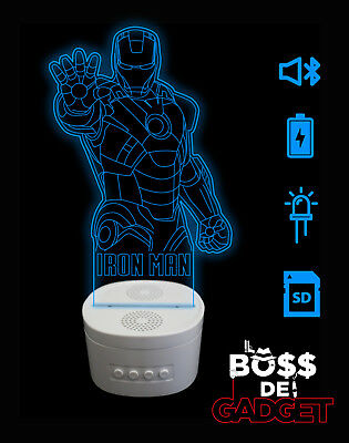 Lampada Personalizzata Led Altoparlante Cassa Speaker Bluetooth Iron Man Marvel