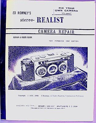Stereo Realist Camera Repair and Users Guide by Ed Romney - Excellent condition