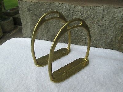 "LOVELY PAIR OF VINTAGE ? BRASS STIRRUP IRONS FOR ROCKING HORSE (4"" TALL x 3.5"")"