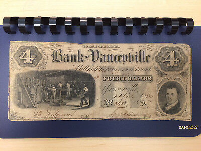 1800's $4 Bank Of Yanceyville, Nc Obsolete Good Shape For Age