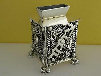 Sterling Silver Tzedakah Box ~ Israel / Judiaca pierced w/ applied work