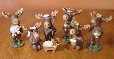 7 PIECE MOOSE NATIVITY SCENE SET Faux Carved Cabin Wood Christmas Lodge Decor