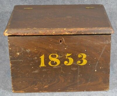 1853 dated grain painted small storage box pine 14 in. antique original