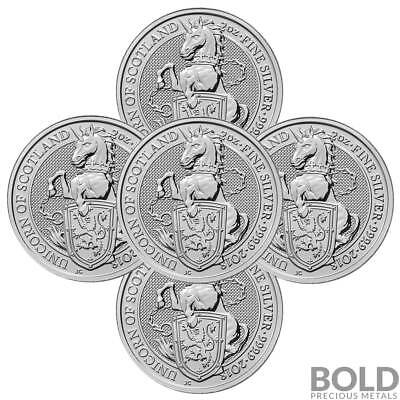 2018 Silver Great Britain Queen's Beasts (The Unicorn) - 2 oz (5 Coins)