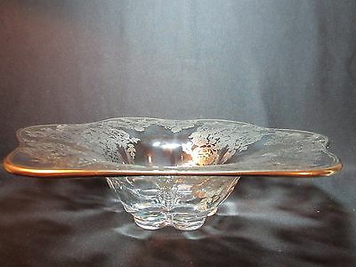 Duncan & Miller Canterbury Gardenia Bowl with Great Rose Silver Overlay