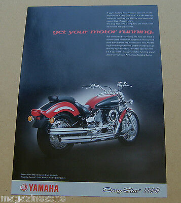Yamaha Drag Star 1100 motorcycle original magazine advert from 1999