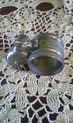 ANTIQUE silver plate victorian cat napkin holder nice pre-owned GRT COLLECTABLE!
