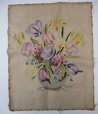 Old Hand Embroidered Flowers in Vase Picture - from a Fire Screen