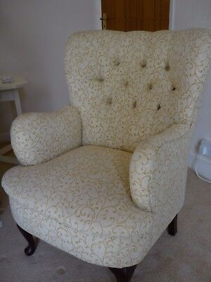 Button Back Armchair-Pale Gold